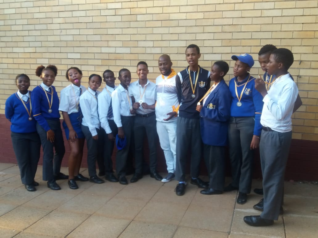 Badirile Secondary School Team posing for a picture prior their 1st year competition at the beginning of the year. Picture by Ntebaleng Letebele.
